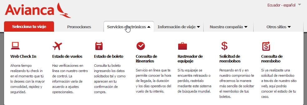 Avianca Ecuador Servicios