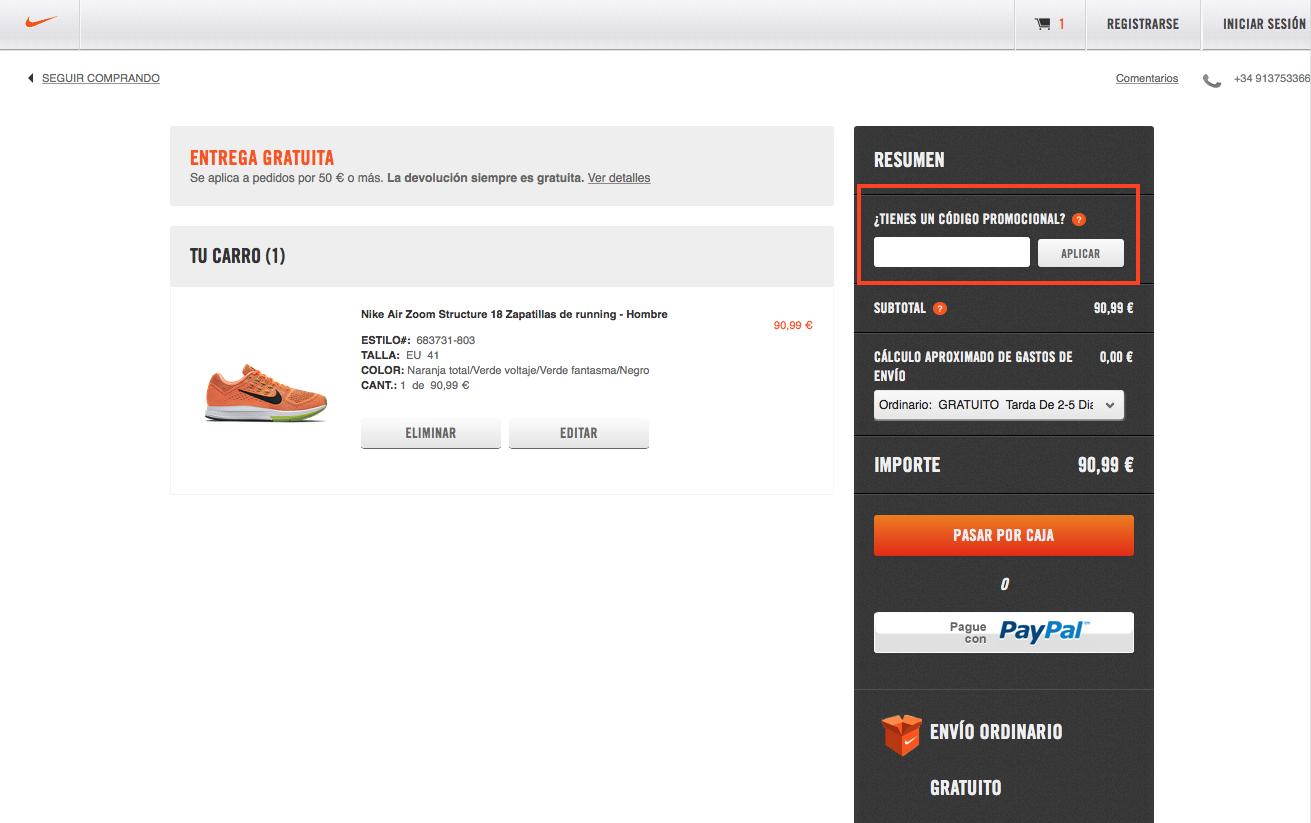 Descuento Códigos Promocionales Nike